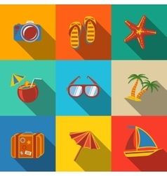 Summer holidays modern flat icons set - coconut vector image