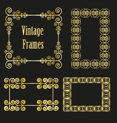 Vintage golden frames collection vector