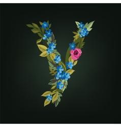 Y letter flower alphabet colorful font vector