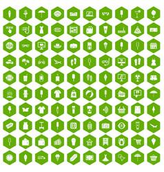 100 summer shopping icons hexagon green vector