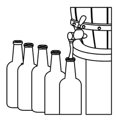 Contour beer bottles filling up icon vector
