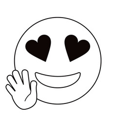 love hand emoticon style thin line vector image
