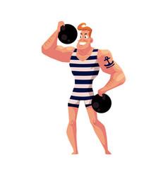 strongman strong man circus performer vector image