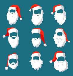 different santa hats moustache and beards vector image