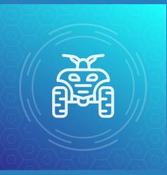 quad bike line icon atv quadricycle vector image