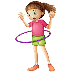 A young girl playing hulahoop vector
