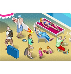 Isometric tourists peoples set at resort vector