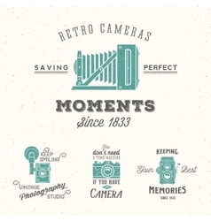 Retro camera photography set labels or vector