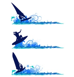 Surfing design elements vector