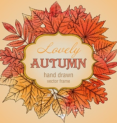 Template with highly detailed hand drawn leaves vector