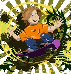 Abstract of a boy on a skateboard vector