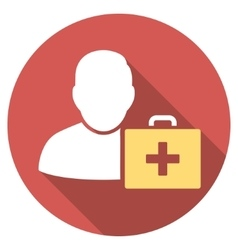 First aid man flat round icon with long shadow vector