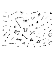 Set of drawn old school tattoo elements black and vector