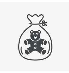 Little teddy bear icon in package vector