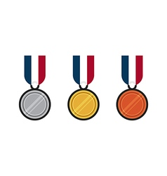 Set of gold silver bronze medal flat design vector