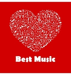 Best music poster with heart shape musical notes vector