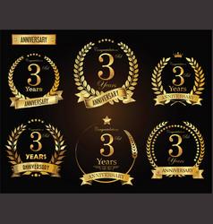 anniversary golden laurel wreath 3 years vector image vector image
