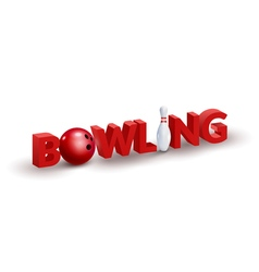 Bowling word 3d design template bowl and skittle vector