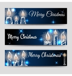 Christmas banners set with candles vector image vector image