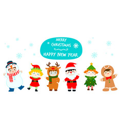 cute kids wearing christmas costumes cartoon vector image