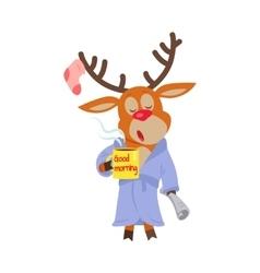 Deer in sleepwear isolated reindeer in morning vector