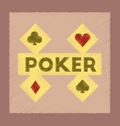 Flat shading style icon poker logo vector