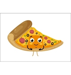 Funny pizza slice isolated cartoon character vector image