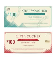 Gift voucher green red cream triangle vector