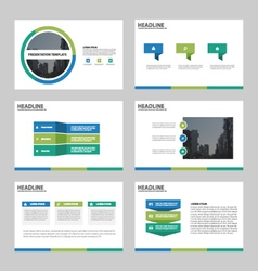 Green blue abstract presentation templates set vector