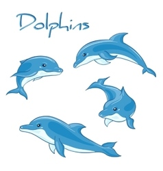 hand drawn set of cartoon dolphins in vector image