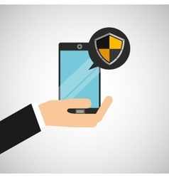 hand holds smartphone padlock protection shield vector image