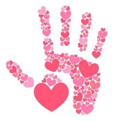Handprint of hearts vector