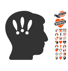 Head problems icon with dating bonus vector