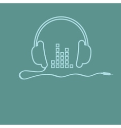 Headphones with cord and equalizer Music vector image