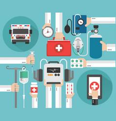 Healthcare ambulance online concept design fla vector