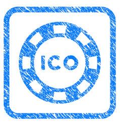 Ico token framed grunge icon vector