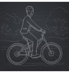 Man riding bicycle vector