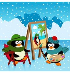 Penguin artist fantasy vector