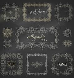 set of chalk calligraphic frames vector image