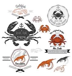 set of vintage seafood labels and design elements vector image