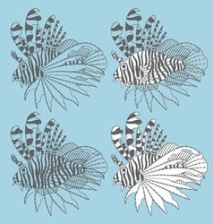 Set of with lionfish vector