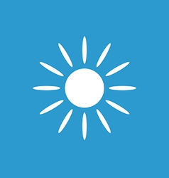 Sun icon white on the blue background vector