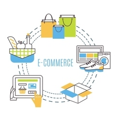 Thin line e-commerce vector