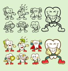 Tooth cartoon icons vector image