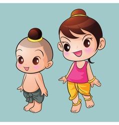 Traditional thai cute boy and girl vector