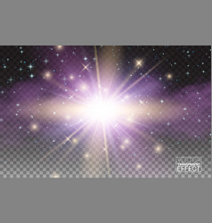 transparent magic light effect star burst sparkles vector image