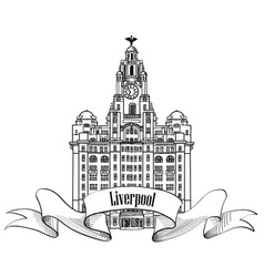 Travel england sign liverpool liver building uk vector