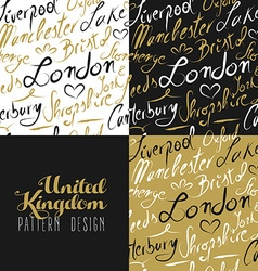 Travel uk london seamless pattern gold city text vector