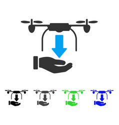Unload drone hand flat icon vector