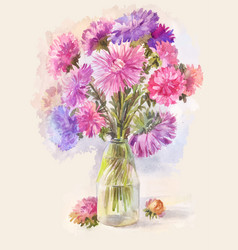 Watercolor bouquet of lilac aster vector